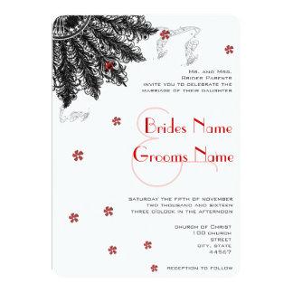 Cartão (Convites pretos vermelhos do casamento do fã de