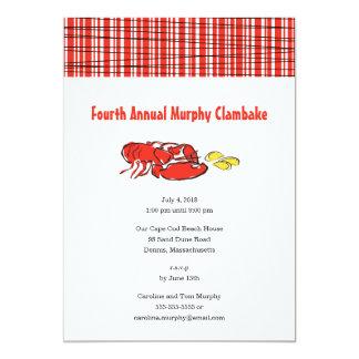 Cartão Cookout do verão de Clambake da lagosta
