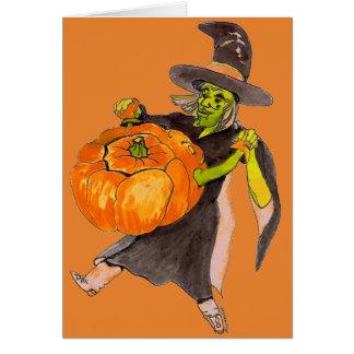 Cartão Cor assustador da bruxa da abóbora da dança do Dia