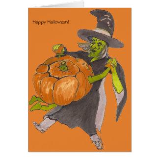 Cartão Cor da dança da abóbora da bruxa do Dia das Bruxas