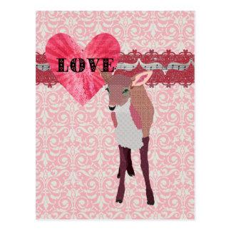 Cartão cor-de-rosa bonito do damasco do amor da jo cartão postal