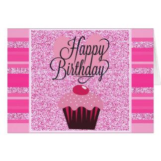 Cartão cor-de-rosa bonito do feliz aniversario do