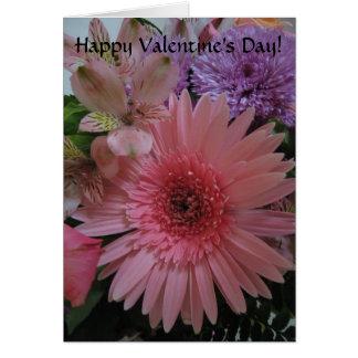 Cartão Cor-de-rosa bonito e o roxo florescem o dia dos