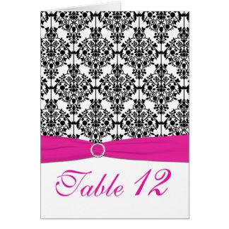 Cartão cor-de-rosa, branco e preto do número da