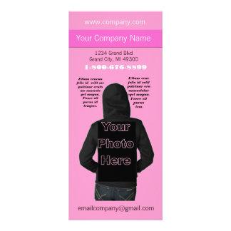 Cartão cor-de-rosa da cremalheira da diva da forma 10.16 x 22.86cm panfleto