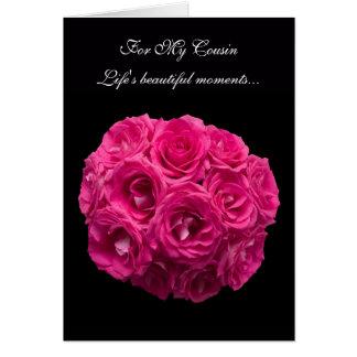 Cartão cor-de-rosa da dama de honra dos rosas do