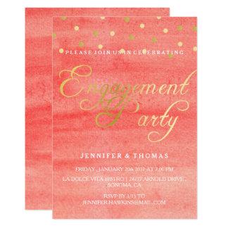 Cartão cor-de-rosa da festa de noivado da textura convite 12.7 x 17.78cm