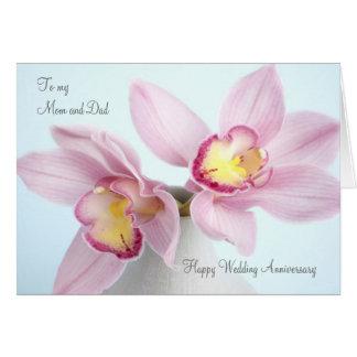 Cartão cor-de-rosa da mamã e do pai do aniversário