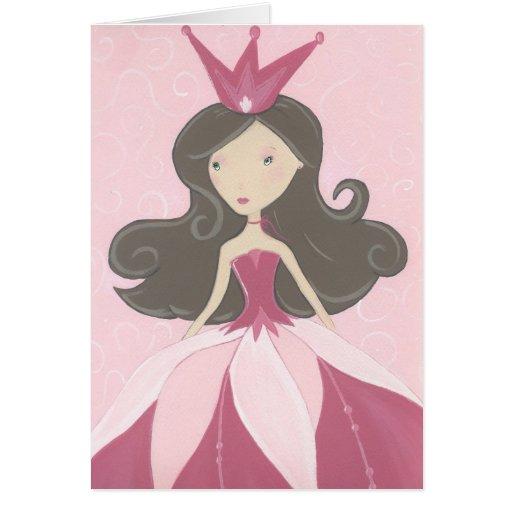 Cartão cor-de-rosa da princesa aniversário