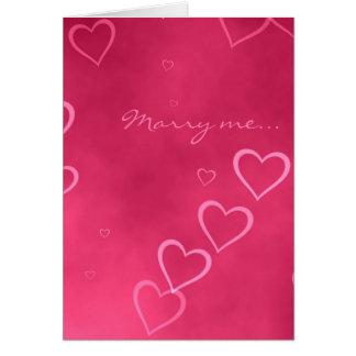 Cartão cor-de-rosa da proposta de casamento dos