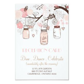 Cartão cor-de-rosa da recepção dos frascos de convite 8.89 x 12.7cm