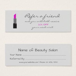 Cartão cor-de-rosa da referência do batom
