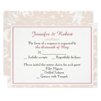 Cartão cor-de-rosa da resposta do casamento da