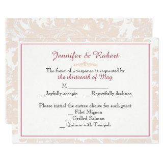 Cartão cor-de-rosa da resposta do casamento da convite 8.89 x 12.7cm