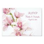 Cartão cor-de-rosa da resposta RSVP do casamento Convites