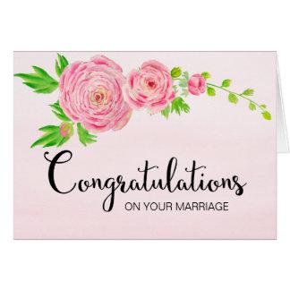 Cartão cor-de-rosa das felicitações do ranúnculo
