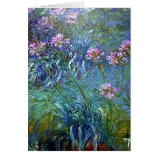Cartão cor-de-rosa das flores do impressionismo