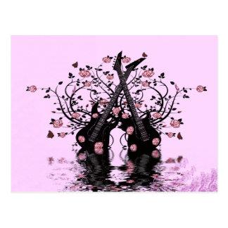 Cartão cor-de-rosa das guitarra