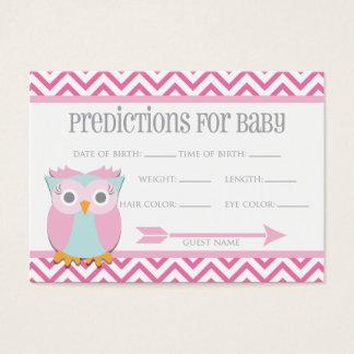 Cartão cor-de-rosa das previsões da coruja