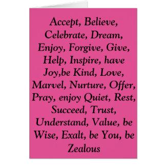 Cartão cor-de-rosa das virtudes