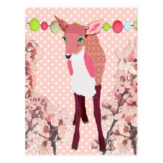 Cartão cor-de-rosa de Pokadot da jovem corça da ce Cartões Postais