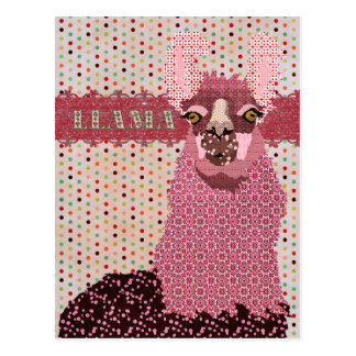 Cartão cor-de-rosa de Pokadot do lama Cartão Postal