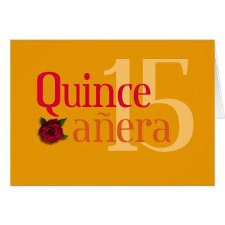 Cartão cor-de-rosa de Quinceañera