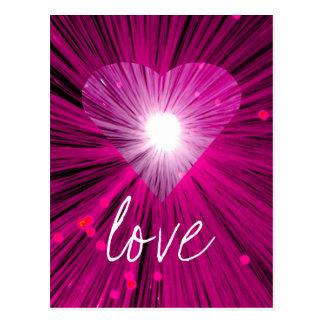 """Cartão cor-de-rosa do """"amor"""" do coração"""