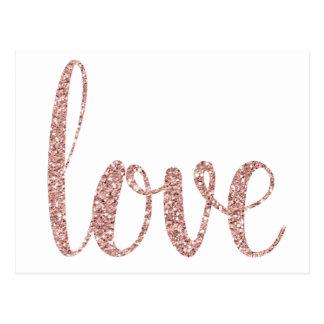 Cartão cor-de-rosa do amor do ouro, brilho