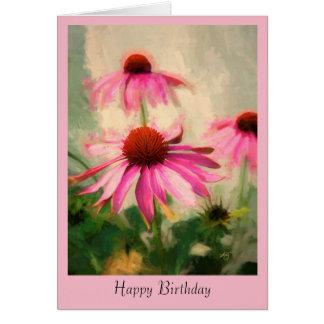 Cartão cor-de-rosa do aniversário de Coneflower