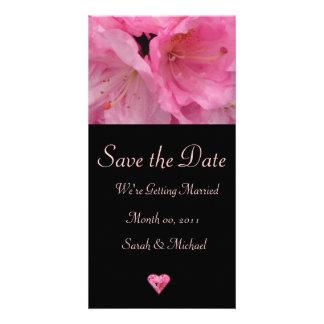 Cartão cor-de-rosa do anúncio do casamento da flor cartoes com fotos personalizados