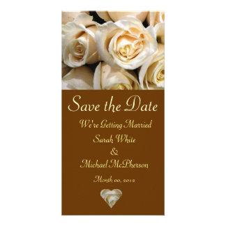 Cartão cor-de-rosa do anúncio do casamento do marf cartão com foto