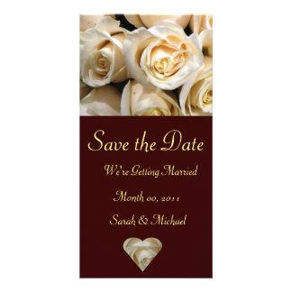Cartão cor-de-rosa do anúncio do casamento do marf cartoes com fotos personalizados