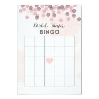 Cartão cor-de-rosa do Bingo do chá de panela dos Convite 12.7 X 17.78cm