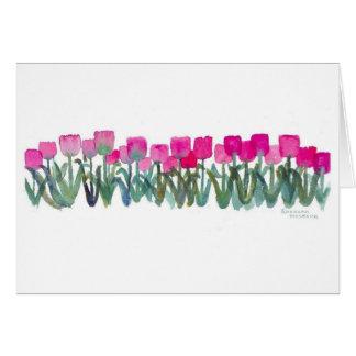 Cartão cor-de-rosa do bosque da tulipa
