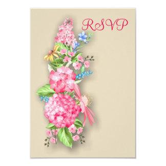 Cartão cor-de-rosa do buquê RSVP do Wildflower