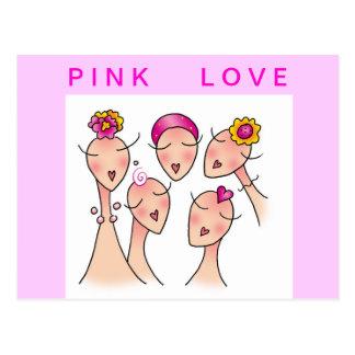Cartão COR-DE-ROSA do cancro da mama do AMOR