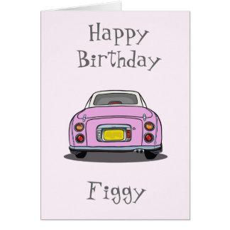 Cartão cor-de-rosa do carro do feliz aniversario