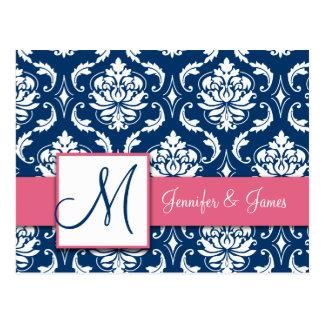 Cartão cor-de-rosa do casamento tema damasco do