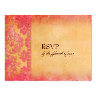 Cartão cor-de-rosa do casamento tema damasco RSVP  Cartões Postais