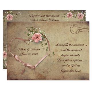 Cartão cor-de-rosa do casamento vintage