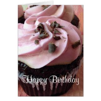 Cartão cor-de-rosa do cupcake do chocolate