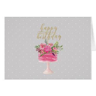 Cartão cor-de-rosa do feliz aniversario do bolo do
