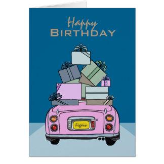 Cartão cor-de-rosa do feliz aniversario do carro