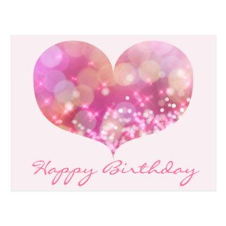 Cartão cor-de-rosa do feliz aniversario do coração