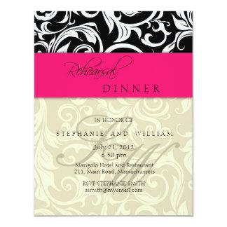 Cartão cor-de-rosa do jantar de ensaio do convite