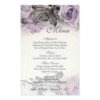 Cartão cor-de-rosa do menu do casamento da prata