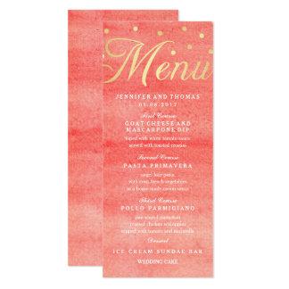 Cartão cor-de-rosa do menu do casamento da textura convite 10.16 x 23.49cm