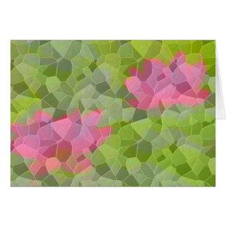 Cartão cor-de-rosa do mosaico do lírio de água