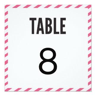 Cartão cor-de-rosa do número da mesa das listras convite quadrado 13.35 x 13.35cm